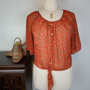 Mine Sheer Orange Brown Animal Print Tie Front, L